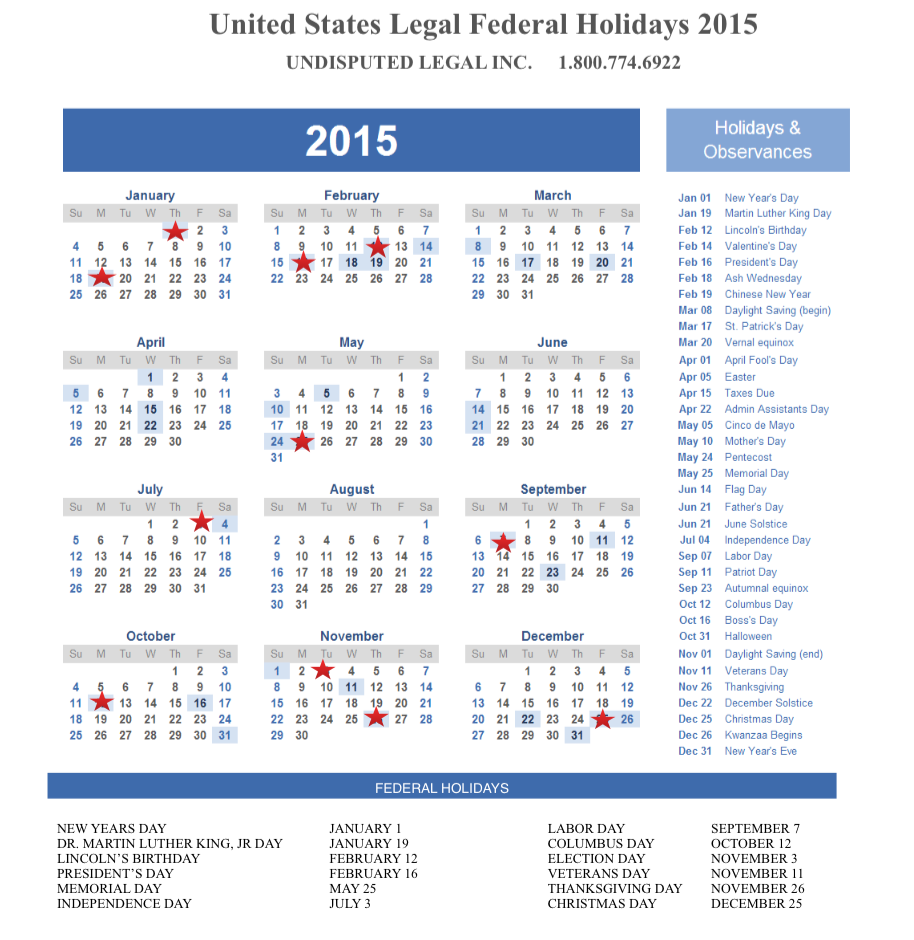 2016 Federal Holidays And Observances | Download PDF