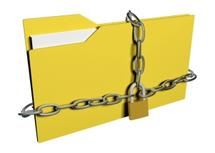 computer data security concept computer folder with with chain